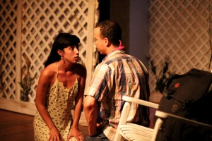 Jessica Marks and Tony Santiago in  TWAIN'S WORLD - First Floor Theater.