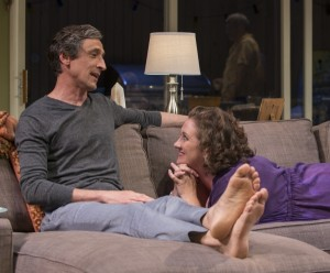 Old friends (left to right) Roger (David Pasquesi) and Deb (Kirsten Fitzgerald) catch up with one another in THE QUALMS at Steppenwolf.