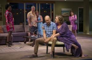 Regine (Karen Aldridge), Gary (Keith Kupferer), Teri (ensemble member Kate Arrington), Chris (Greg Stuhr), Deb (Kirsten Fitzgerald) and Kristy (Diane Davis) in THE QUALMS at Steppenwolf.