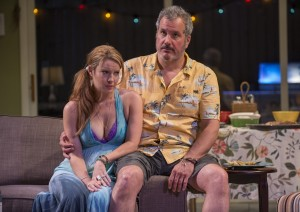 Teri (Kate Arrington) and Gary (Keith Kupferer) endure an awkward moment in THE QUALMS at Steppenwolf.