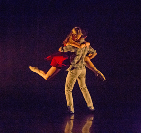 Maiana Sena and Brandon Harneck perform Thodos Ensemble member John Cartwright's Flawed which debuted July 18-20, 2014 as part of Thodos Dance Chicago's 14th Annual New Dances series. Photo by Cheryl Mann