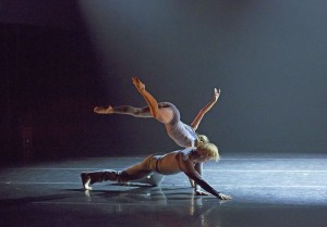 Thodos ensemble member Lauren Zimmer with Ashley Michalek in guest choreographer Kristina Isabelle's Innerscapes, which debuted July 18-20, 2014 as part of Thodos Dance Chicago's 14th Annual New Dances series. Photos by Cheryl Mann