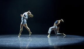 Thodos ensemble members Kyle Hadenfeldt and Diana Winfree in guest choreographer Kristina Isabelle's Innerscapes, which debuted July 18-20, 2014 as part of Thodos Dance Chicago's 14th Annual New Dances series. Photo by Cheryl Mann