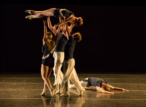 Thodos ensemble member Brandon Harneck's new work Co-, a work for six dancers, debuted July 18-20, 2014 as part of Thodos Dance Chicago's 14th Annual New Dances series. Photo by Cheryl Mann.