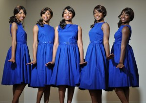 Katrina Richard as Georgeanna, Marquecia Jordan as Georgia, Melanie McCullough as Gladys, Kylah Frye as Juanita and Christina Harper as Katherine in the World Premiere of THE MARVELOUS MARVELETTES at Black Ensemble Theater.