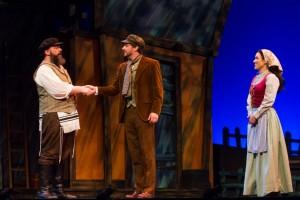 Alex Honzen (Tevye), Tim Rebers (Perchik) and Katelin Spencer (Hodel) in Light Opera Works' FIDDLER ON THE ROOF.
