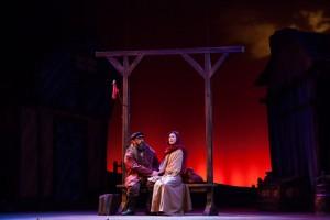 Alex Honzen (Tevye) and Katelin Spencer (Hodel) in Light Opera Works' FIDDLER ON THE ROOF.
