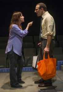 Domenica Cameron-Scorsese and Eric Burgher in Profile Theatre's production of Neil LaBute's REASONS TO BE HAPPY.