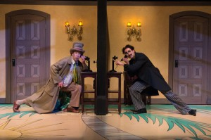 Harpo (Brent Hinkley) and Groucho (Mark Bedard) cause havoc in the hotel rooms.