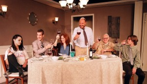 Julia Arian (as Rachel), Tom Berklund (as Patrick), Stacey Moseley (as Christina), Chip Bolcik (as Barry), Paul Zegler (as Sol), and Aidan Blain (as Mose) in THE FACE IN THE REEDS.