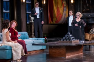 (L-R) Tempe Thomas, Kathy Logelin, Rod Thomas, Derek Hasenstab, Angela Ingersoll in THE GAME'S AFOOT at Drury Lane.