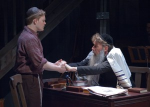 Asher Lev (Alex Weisman, left) receives counsel from the Rebbe (Lawrence Grimm) in TimeLine Theatre's Chicago premiere of My Name is Asher Lev by Aaron Posner, adapted from the novel by Chaim Potok, directed by Kimberly Senior, presented at Stage 773, 1225 W. Belmont Ave., Chicago, August 22 - October 18, 2014. Photo by Lara Goetsch.