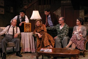 Michael Mantell, Noah James, Betsy Zajko, Ian Alda, Allan Miller, and Gina Hecht in BROADWAY BOUND at the Odyssey Theatre - photo by Enci.