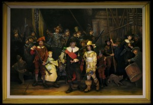 Re-creation of Rembrandt's THE NIGHT WATCH for Pageant of the Masters' THE ART DETECTIVE, 2014.