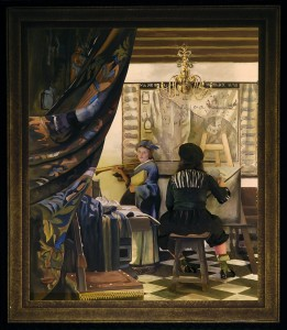 Re-creation of Vermeer's ALLEGORY OF PAINTING for Pageant of the Masters' THE ART DETECTIVE, 2014.