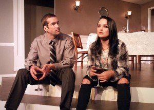 Tom Berklund (as Patrick) and Julia Arian (as Rachel) in THE FACE IN THE REEDS.