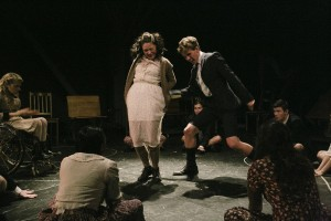 Ali Stroker, Sandra Mae Frank, Miles Barbee, Austin McKenzie, Joshua Castille in Deaf West Theatre's production of SPRING AWAKENING. Photo by Tate Tullier.