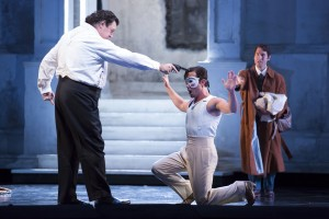Andrea Silvestrelli, Mariusz Kwiecień, and Kyle Ketelsen in DON GIOVANNI, directed by Robert Falls for Lyric Opera of Chicago. Photo by Todd Rosenberg.