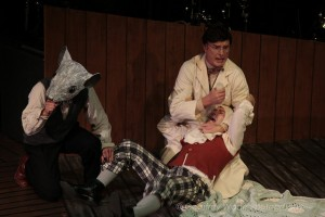 Andrew Joseph Perez (rat), Hugo Armstrong, and Amir Levi in THE BEHAVIOR OF BROADUS by Sacred Fools and Burglars of Hamm (photo by Geoffrey Wade).