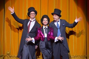 Bill Irwin, Shaina Taub, and David Shiner in OLD HATS at A.C.T.'s Geary Theater. Photo by Kevin Berne.