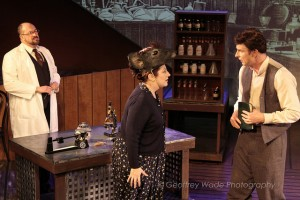 Bill Salyers, Rebecca Metz, and Hugo Armstrong in THE BEHAVIOR OF BROADUS by Sacred Fools and Burglars of Hamm (photo by Geoffrey Wade).
