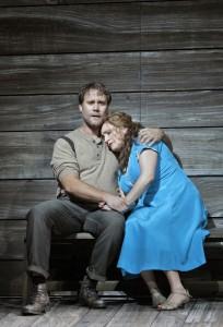 Brandon Jovanovich (Sam Polk) and Patricia Racette (Susannah Polk) in San Francisco Opera's SUSANNAH.