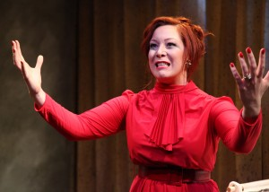 Brynne Barnard in Interrobang Theatre Project's production of Caryl Churchill's OWNERS. Photo by Emily Schwartz.