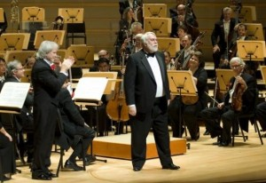 Composer Christopher Rouse acknowledges the audience after The Pacific Symphony performed the west coast premier of his composition Supplica