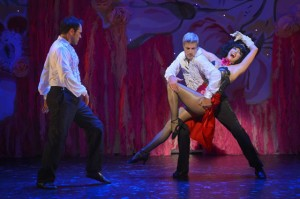 Dancers Michael Balderrama and Bob Gaynor partner with Meow Meow in the world premiere of AN AUDIENCE WITH MEOW MEOW at Berkeley Rep.