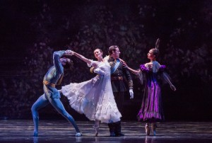 Dylan Gutierrez, Victoria Jaiani, Miguel Blanco, April Daly in LILAC GARDEN, part of Joffrey Ballet's STORIES IN MOTION - photo by Cheryl Mann.
