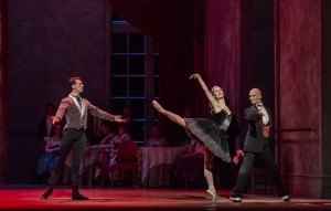Dylan Gutierrez, Victoria Jaiani, and Rory Hohenstein (Joffrey Ballet) in Christopher Wheeldon's SWAN LAKE - Photo by Cheryl Mann.