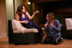Elizabeth Reaser and Callie Thorne in Neil LaBute's THE MONEY SHOT. Photo by Joan Marcus.