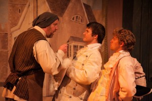 Eric Leonard as Egbert, Brian Plocharcyzk as Lucidus, and Spenser Davis as Robert in THE COWARD by Nick Jones, Stage Left Theatre. Photo by Johnny Knight.