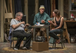 Francis Guinan, Tim Hopper and Helen Sadler in Steppenwolf Theatre Company's production of The Night Alive by Conor McPherson, directed by Henry Wishcamper. Photo by Michael Brosilow.