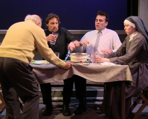Fred Wellisch (Jimmy Connelly), Rian Jairell (Father Peter Lentine), Mickey O'Sullivan (Charlie Connelly) and Laura Berner Taylor (Clare Connelly) in MIRACLES IN THE FALL.
