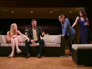 Gia Crovatin, Fred Weller, Callie Thorne, and Elizabeth Reaser in Neil LaBute's THE MONEY SHOT. Photo by Joan Marcus.
