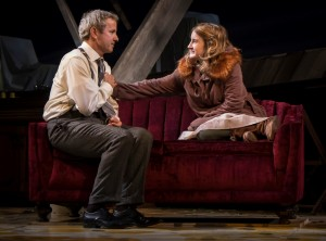 Guy Massey (Samuel) and Catherine Combs (Beauty) in Noah Haidle's Smokefall at Goodman Theatre