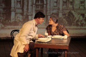 Hugo Armstrong and Erin Holt in THE BEHAVIOR OF BROADUS by Sacred Fools and Burglars of Hamm (photo by Geoffrey Wade).