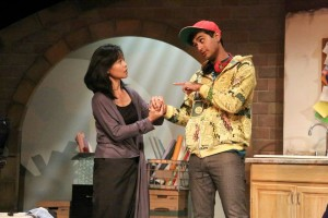Ilana (Tess Lina) meets brilliant but awkward student Suresh (Kapil Talkwalkar) in ANIMALS OUT OF PAPER at East West Players.