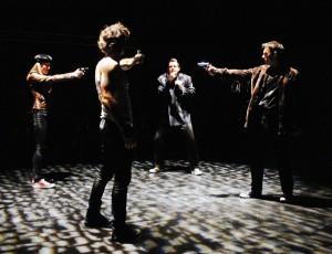 JEN LANDON, NICHOLAS CUTRO, BEN CROWLEY & JEFF WITZKE in The Blank Theatre's THE WHY. Photo by Anne McGrath