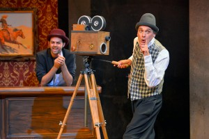 David Shiner (right) and musician Jacob Colin Cohen (left) in OLD HATS at A.C.T.'s Geary Theater - Photo by Kevin Berne.