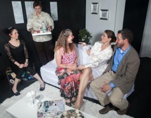 Jaimelyn Gray (Matilde), Deborah Hearst (Virginia), Laura Sturm (Ana), Susan Steinmeyer (Lane), Joe McCauley (Charles) in Bluebird Arts' THE CLEAN HOUSE. Photo by Anthony La Penna.