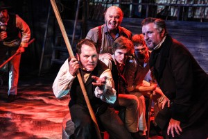 Josh Nordmark (far left) with (left to right) Brad Woodard, Zach Bloomfield, Antonio Zhiurinskas, Drew Schad and Ben Werling in Shattered Globe Theatre's Midwest premiere of THE WHALESHIP ESSEX.