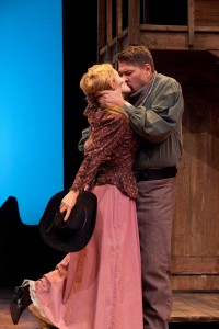 Kari Coleman and Michael Manuel in Impro Theatre's THE WESTERN UNSCRIPTED at the Falcon Theatre.