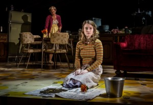 Katherine Keberlein (Violet) and Catherine Combs (Beauty) in Noah Haidle's Smokefall at Goodman Theatre