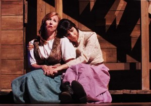Kelly Holden-Bashar and Edi Patterson in Impro Theatre's THE WESTERN UNSCRIPTED at the Falcon Theatre.