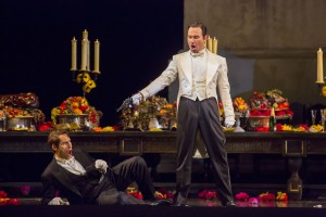 Kyle Ketelsen and Mariusz Kwiecień in DON GIOVANNI, directed by Robert Falls for Lyric Opera of Chicago. Photo by Todd Rosenberg.