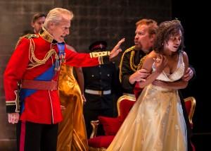 Larry Yando, Nehassaiu deGannes, and Kevin Gudahl in Chicago Shakespeare's KING LEAR - photo by Liz Lauren.