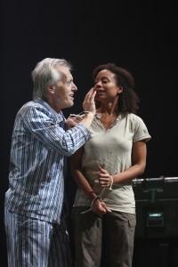 Larry Yando and Nehassaiu deGannes in Chicago Shakespeare's KING LEAR - photo by Liz Lauren.