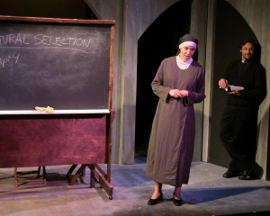 Laura Berner Taylor (Clare Connelly) & Rian Jairell (Father Peter Lentine) in MIRACLES IN THE FALL.